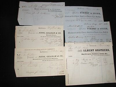 Lot of 6 Misc Old Antique 1800s Baltimore MD Billhead Receipts Various Companies