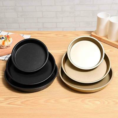 "Round Deep Dish Pizza Pan Non-stick Pie Tray Baking Mould Kitchen Tools 6""/8""/9"""