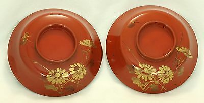 Japanese Vintage 2 Plate Lid of Bowl Lacquer Ware Wood Red Gold Chrysanthemum
