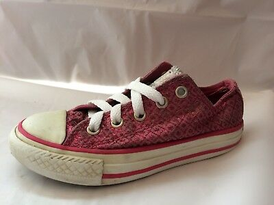 Converse All Star Girls 11 Youth Pink Silver Metallic Lo Top Sneaker Shoes
