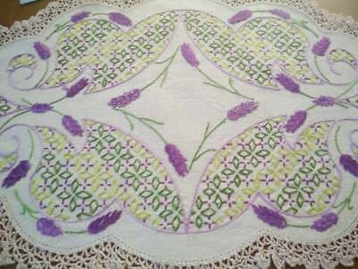 Exquisite Purple Lavender Displays ~ Vintage Hand Embroidered Centrepiece