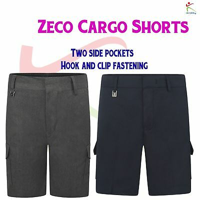Zeco New School Uniform Boys Cargo Schoolwear Shorts Trousers 3/4 to 15/16