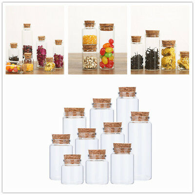 Mini 50ml Clear Glass Message Bottles Vials Empty Sample Jars With Cork Stopper