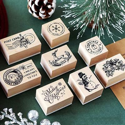 Wooden Rubber Stamps DIY Greeting Card Christmas Stamp Scrapbooking Decor Gifts