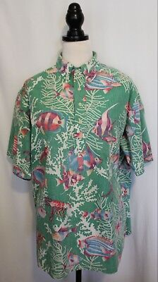 VINTAGE 1980's REYN SPOONER ~ Mens Green Purple Pink Tropical Fish Shirt XL