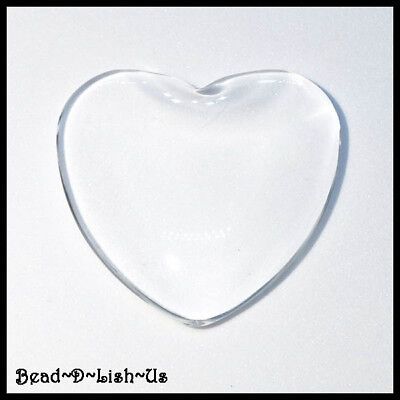 10pcs x HEART 25mm Clear Glass Dome Cabochon Tile  DIY Cameo Pendant