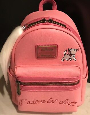 Loungefly Disney The Aristocats Marie Embroidered Les Chats Mini Backpack Pink