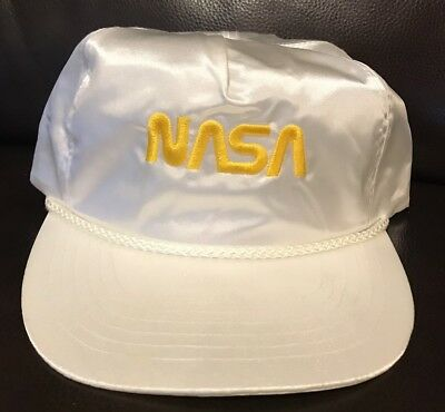 dfe09423ed1b4 NASA Snapback Hat Cap White Embroidery Satin Nylon Aviation Rope Vintage