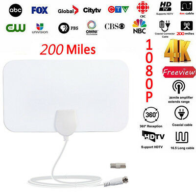 1080p 200 Mile HDTV Indoor Antenna Skylink HD Digital TV Signal Amplified Cable