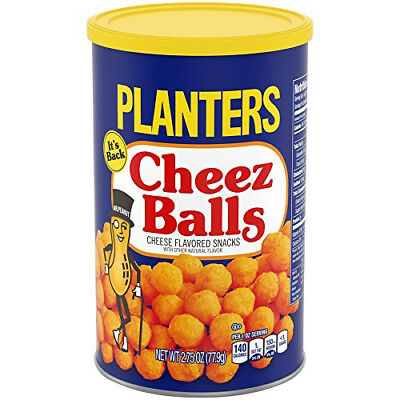 Planters Cheez BALLS Cheese Flavor Snack 2.75 oz FRESH sealed can 2018 FAST ship