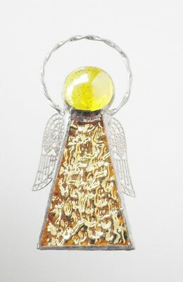 Stained Glass Pale Yellow Guardian Angel Halo Silver wings handmade in Australia