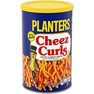 Planters Cheez CURLS Cheese Flavor Snack 4 oz FRESH sealed can 2018 FAST ship