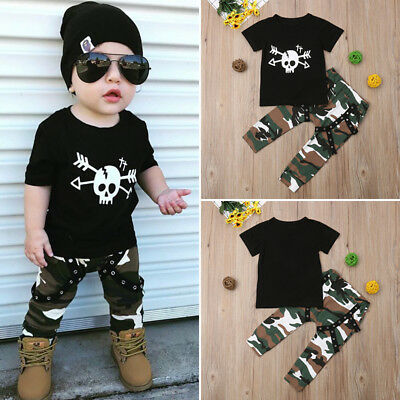 AU Toddler Kids Baby Boy Hip-Hop Outfit Clothes T-shirt Tops+Camo Pants 2PCS Set