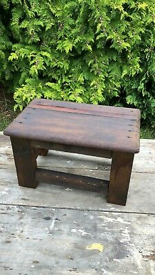 Fantastic Vintage Rustic Hand Made Shabby Chic Wooden Stool With Lift Up Top *