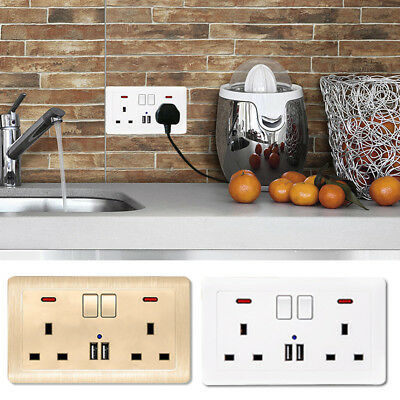 1Pc Double Wall UK Plug Socket 2 Gang With 2 USB Ports Screwless Slim Flat Plate