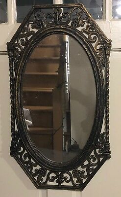 Vintage Syroco Mirror Wall Hanging Gothic Gold Bronze Antique finish 1965