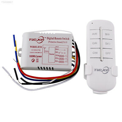 7E93 220V 3 Way Channels ON/OFF Wireless Light Wall Switch Splitter Remote Contr