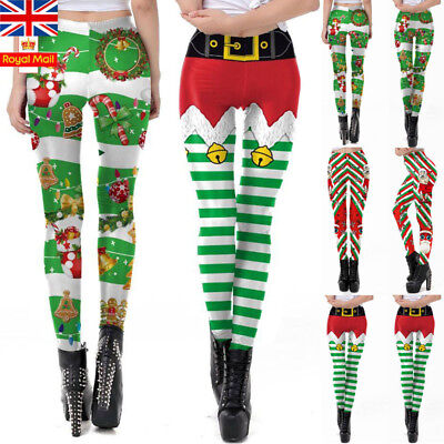 UK Womens Christmas Pants Ladies Santa Snowman Leggings Stretch Xmas Trousers