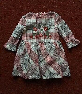 M&S Girls Red/Cream/Grey Check Embroidered Dress Age 9/12 Months PERFECT