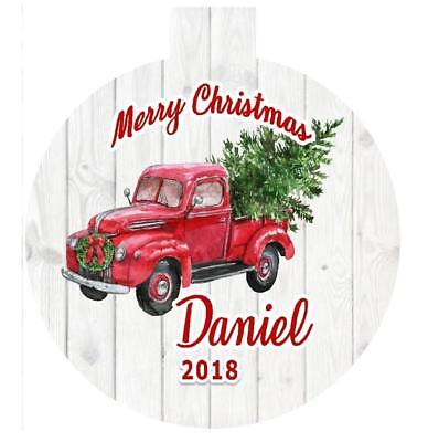 LITTLE RED TRUCK w/Christmas Tree Personalized Ornament Any Name 2 Sides Printed