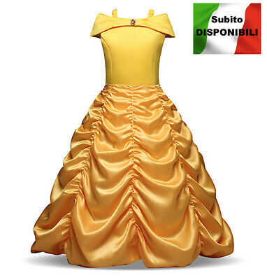 Bella e Bestia Vestito Carnevale Maschera Belle Cosplay Girl Dress up BELLEZ04