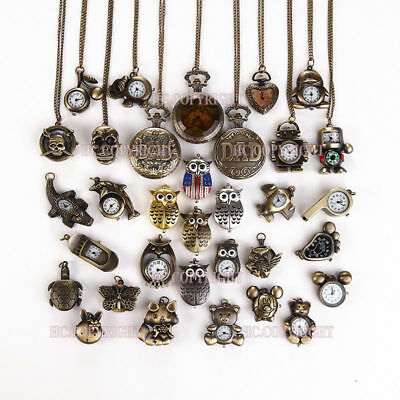 Antique Vintage Battery Bronze Neckless Chain Pocket Watch Gift Multi Design