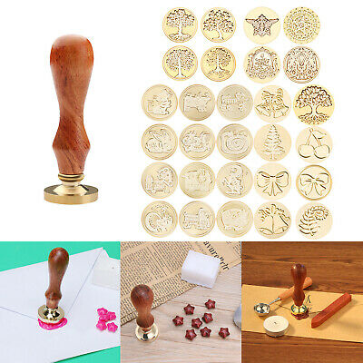 UK Christmas Wax Seal Stamp Wedding Invitation Letter Card Envelope Wood Handle