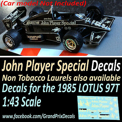 Formula 1 Car Collection LOTUS 97T 1985 JPS water slide decals 1:43 scale F1 IXO