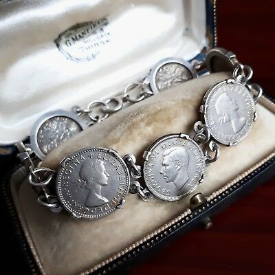 Vintage Solid Sterling Silver Mounted Sixpence Coin Bracelet 1949-1967 Jewellery