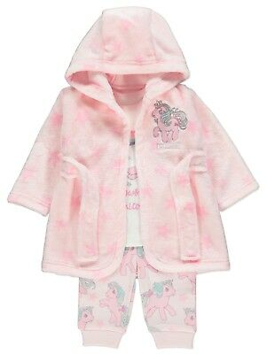 Baby Girls  My little pony Pink Unicorn Pyjamas and Dressing Gown Set 0-24 MONTH
