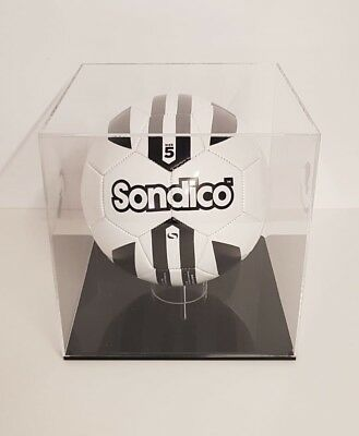 Football Display Case Presentation Box Cube with black base Acrylic Perspex