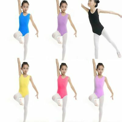Girl Dance Leotard Stretch Kid Tops Clothes Bodysuit Ballet Training Dress 4-13Y