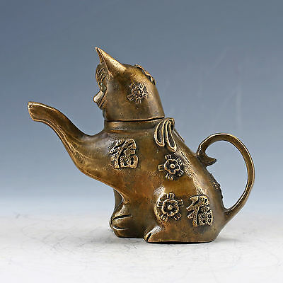 Chinese Brass Hand Carved Lucky Cat Teapot W Ming Generation Xuande Mark NR