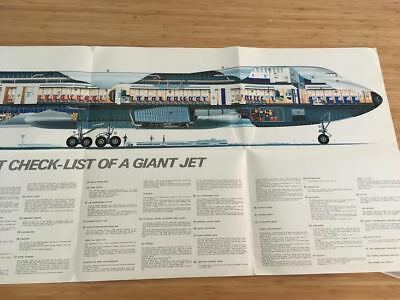 Air France Airlines B747 Intro Promo Brochure Cutaway Poster 1969 Vintage
