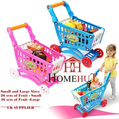 Kids Childrens Shopping Trolley cart Play Set Toy Gift Plastic Fruit 50 PCS