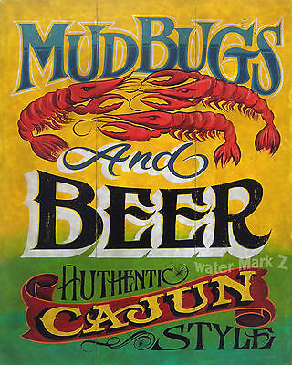 Mudbugs & Beer Cajun   Print  decor  louisiana cajun seafood crawfish art