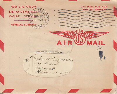 NEVER OPENED WWII V-MAIL Letter CAPTAIN 106th AAA Group CORSICA 20 Nov 1944 P