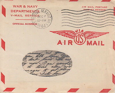 NEVER OPENED WWII V-MAIL Letter CAPTAIN 106th AAA Group CORSICA 7 Dec 1944 Q