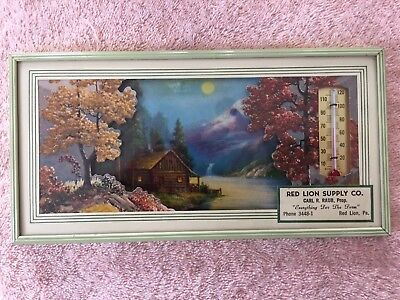 Vintage 1956 Framed Picture with Thermometer and Calendar (on back) Red Lion, PA