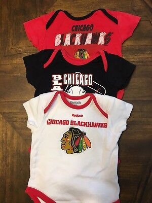 3-6 Month Girls Boys Unisex  Infant 3 Chicago Blackhawks One Piece Outfits