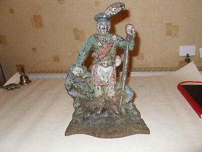 Antique Heavy Victorian Cast Iron Scottish Figure Door Stop