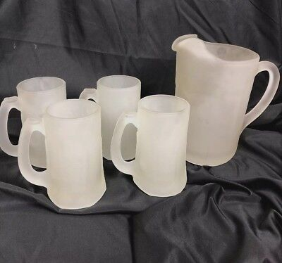 Vintage Heavy White Frosted Beer Beverage Pitcher And 4 Steins