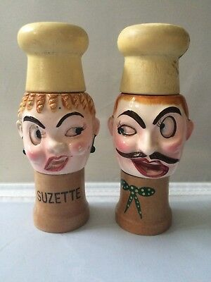 Vintage Fred Roberts Company Japan Chefs Faces Salt and Pepper Shakers