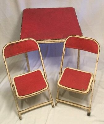 Vintage 1950's Hampton Red White Childs Metal folding card table & two chair set