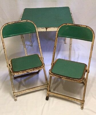 VTG 1950's Hampton Green White Childs Metal folding card table & two chair set