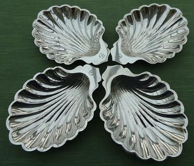 """A Set of 4 Walker & Hall Silver Plate Shell Shaped Dishes Inscribed """"D"""""""