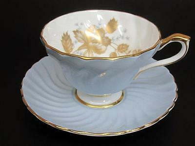 Aynsley Tea Teacup Cup & Saucer c1950's Heavy Golden Floral Pale Blue