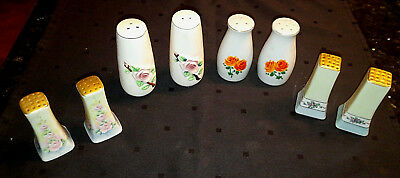 LOT of 4 Vintage Ceramic SALT & PEPPER SHAKER SETS Florals