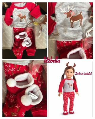 American Girl Festive Reindeer Pajamas PJ Set Holiday Christmas NEW TRULY ME