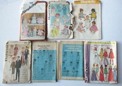 Vintage Doll Clothing Sewing Patterns Lot of 7, Baby and Barbie Fashion